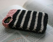 PIPER - coral, black and white striped cotton hand-knit sweater case with camel heart for iPhone Android iPod cell phone on Etsy