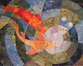 Koi Pond Quilt Fabric Art