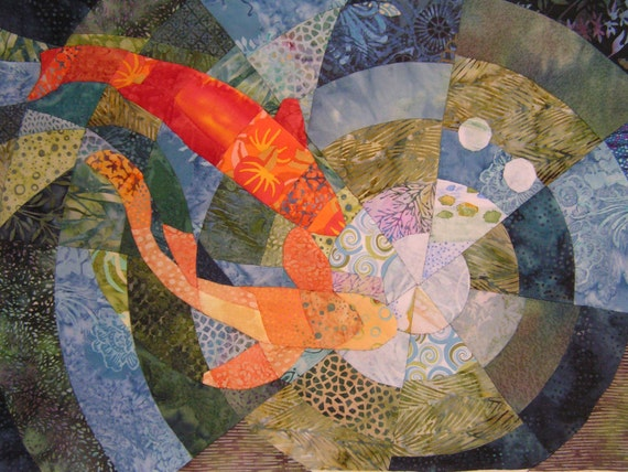 Items similar to koi pond quilt fabric art on etsy for Koi pond quilt pattern