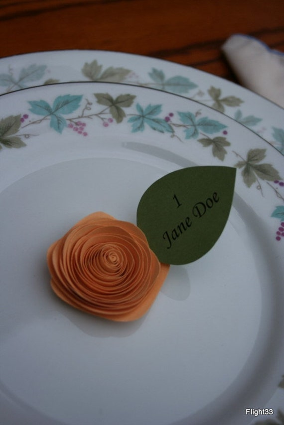 Wedding Escort Cards- Paper Roses- Apricot