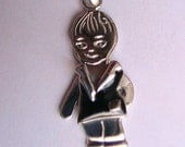 Sterling Silver Necklace. Silver Pendant Boy or Girl.  Silver Charm with Enamel. Mothers Jewelry