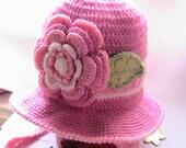 Toddler Girls Hat. Crochet Girl hat with wide Brim. Little Lady hat. Crochet Girls Ear flaps Hat.