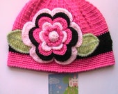 "Crochet Girls Hat. Hot Pink Hat with 5"" Flower. Beaie with Flower. Crochet Girl Hat. READY TO SHIP"