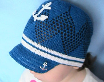 Crochet Boys Hat Cap Navy White with Anchor Aplique - READY TO SHIP