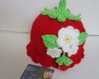 Red Baby Hat, Strawberry Baby Hat, Crochet Baby Flower Beanie, Red Strawberry Beanie, Strawberry Red Hat, Red Beanie, Baby Christmas Gift