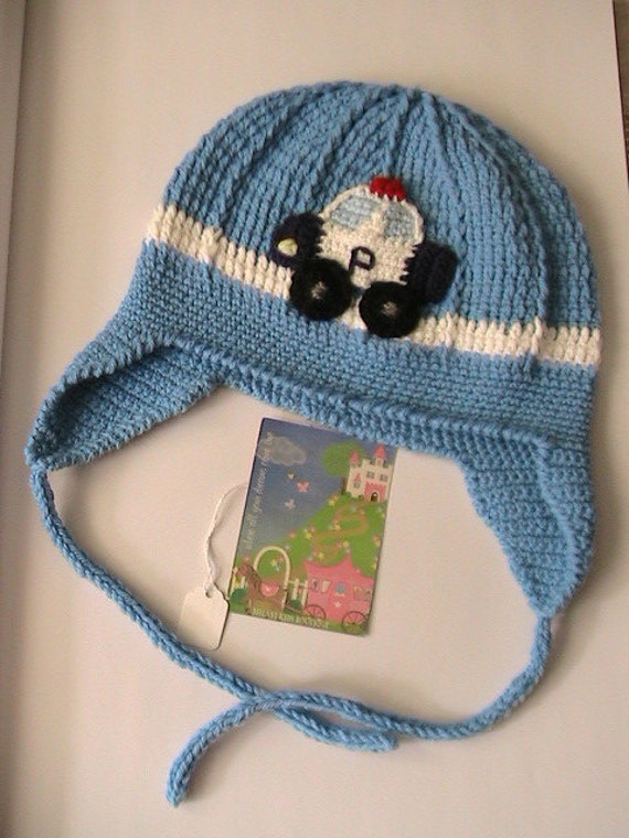Crochet Boys Hat with car applique,Crochet toddler ear flap hat, Boy Hat with Police Car Applique, Toddler boy hat