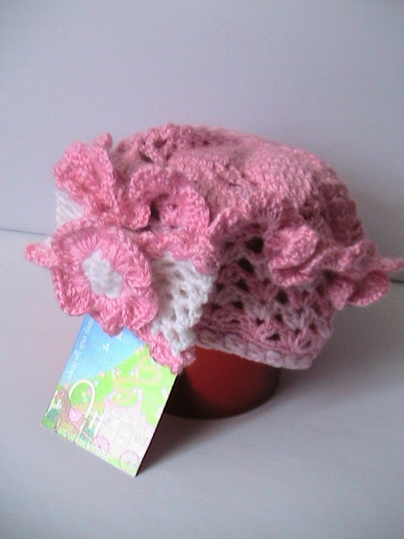 Pink Baby Girl Beret, Hand Knit Baby Girl French Beret, Crochet Girls Hat, Baby Beret with Flower, Bow Baby Beret, Pink and White Baby Beret