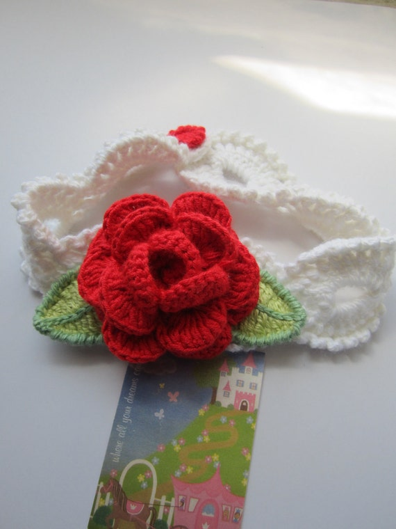 Crochet Head Bands Red Rose. White head band with flower. Crochet Headband. Valentine's Day