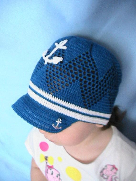 Crochet Nautical Sun Hat, Anchor Hat, Blue Sailor Cap, Nautical Newsboy Summer Hat, Boy Brim Sun Hat, Crochet Sailor Hat, Baby Boy Sun Hats