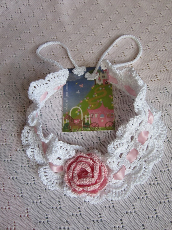 Crochet Girls Head Bands...White Baby head band with Pink Flower...Victorian head band... Baby rose headband...Christening Gift