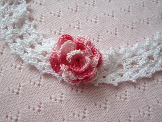 Crochet Girls Headbands. White Baby head band with Pink Flower. Victorian head band. Baby rose headband .Christening Gift