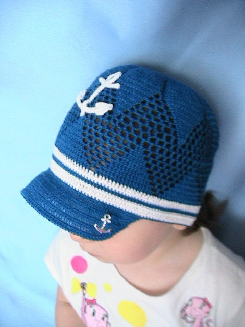 Crochet Pattern Sailor Hat : Crochet Nautical Sun Hat Anchor Hat Blue Sailor Cap