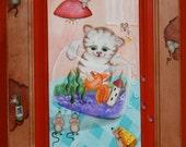 Original Hand painted Whimsical Cat Art, Kitten Mice Art Painting, Folk Art, Naive Paint on Wood