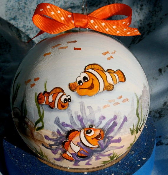 Original Whimsical Hand Painted Personalized Custom Clown Fish Art Ornament Painting Decor Fathers Day, Mothers Day gift