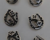 Silver Rockabilly Pin Up Horseshoes and Dice Sew On Buttons Gambling Good Luck Viva Las Vegas