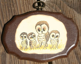 1970's Decoupage Thayer Wooden Wall Hanging with Owls Scenester Hipster