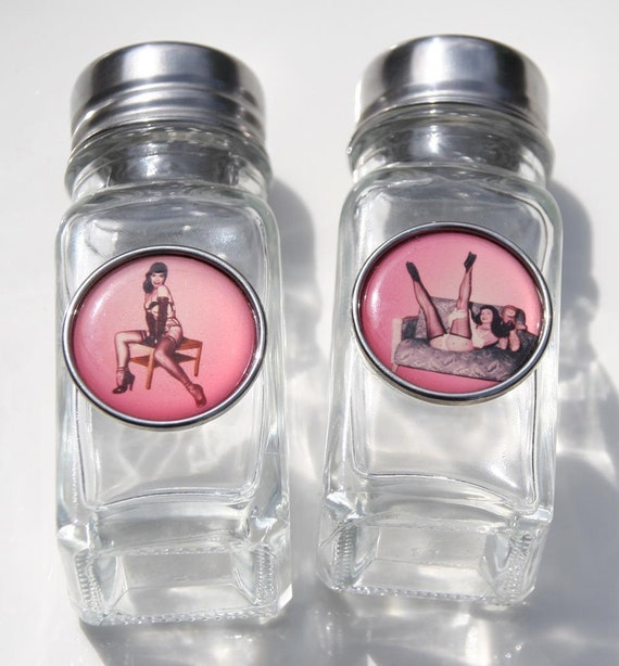 Bettie Page Bondage Salt and Pepper Shakers Pin Up Girl Rockabilly Betty Page
