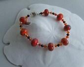 Bracelet of Juicy Orange Lampwork Glass Beads