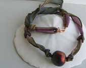 Raku Focal on Hand Dyed Silk Necklace