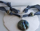 Necklace Featuring Raku Blue Moon Focal on Silk RIbbon OOAK SRA