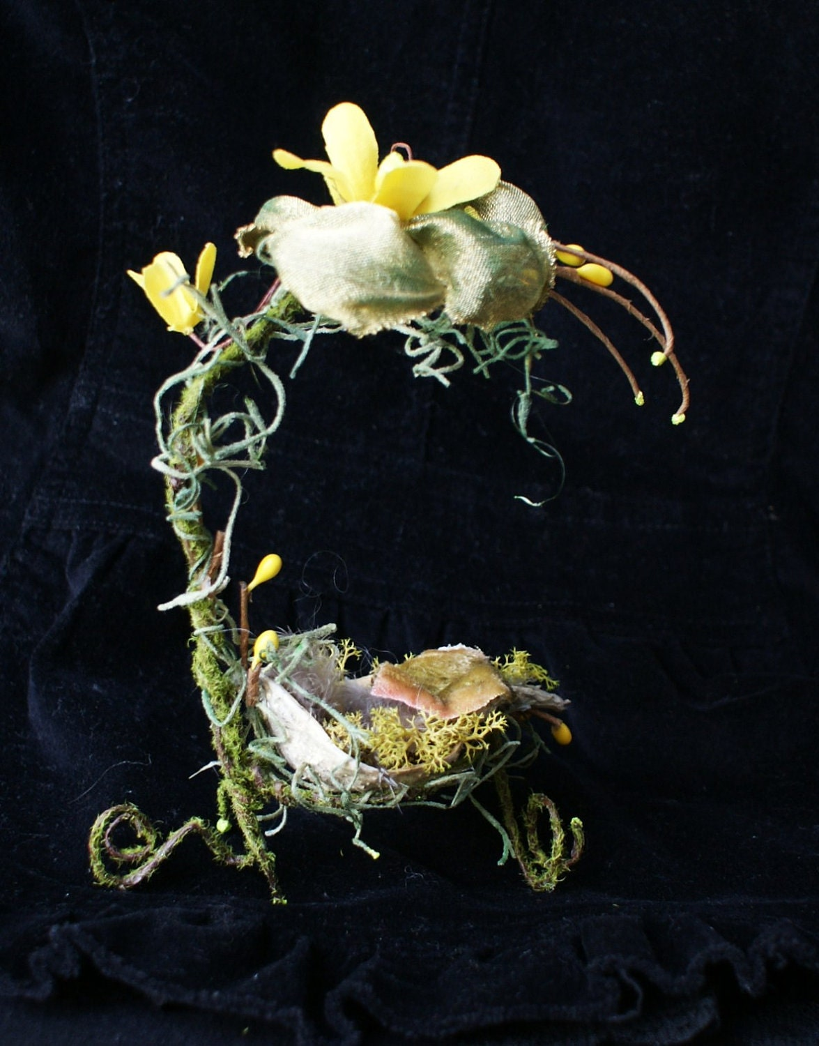 hand made fairy furniture baby bed ooak miniature wire garden furniture