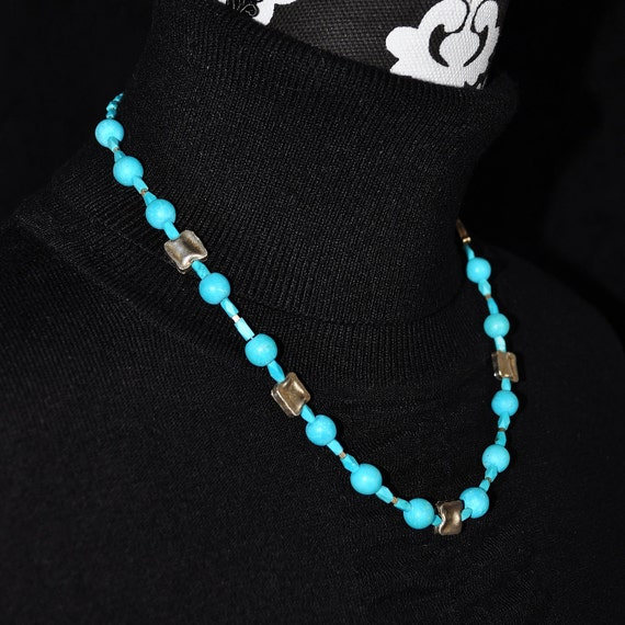 Egyptian faience necklace with silver
