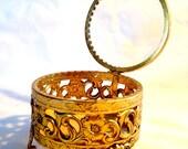 Vintage Metal Filigree Jewelry Casket Dresser Box w/ Glass Lid