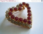 Vintage Heart Brooch with Red and Clear Rhinestones