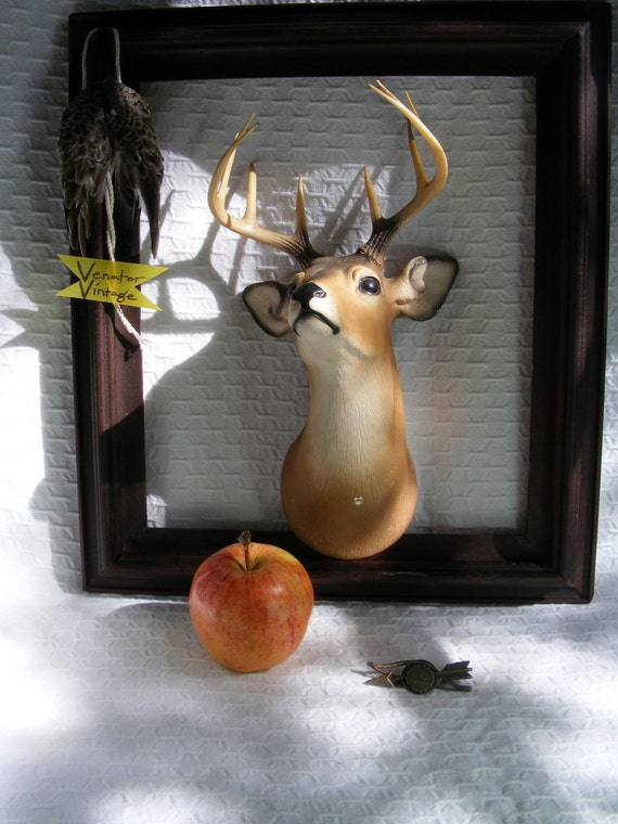 Vintage Plaster Stags Head Faux Taxidermy