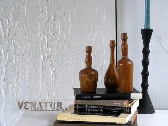 Vintage Handmade Wooden Pin Bottle Trio