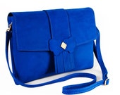 Blue leather handbag - Blue Morpho Handmade Leather Bag Now On Sale