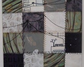 """Original Patchwork Painting 6 1/2"""" x 6 1/2"""" titled Grounded and Free"""