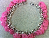 SALE Bubblegum pink button bracelet