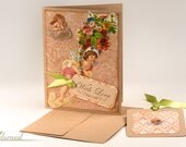 Cupid Vintage Print Greeting Card & Matching Gift Tag