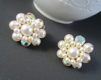 Nice Vintage JAPAN Pair of Faux Pearl and Aurora Borealis Rhinestones Cluster Clip On Earrings