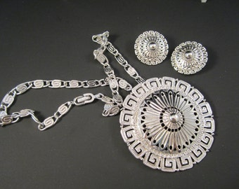Gorgeous MONET Runway Silver Tone Medallion and Clip On Earrings