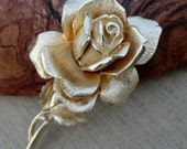 Reserved for SevenBlueBerries Vintage Detailed Gold Rose Brooch Circa 1970s