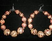 Zebra Print Wood Beaded Hoop Earrings - Basketball Wives Inspired