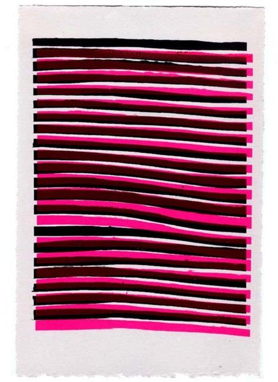 Original Art, Abstract Unique Screen Print Hot Pink & Black NY1130 4 of 4