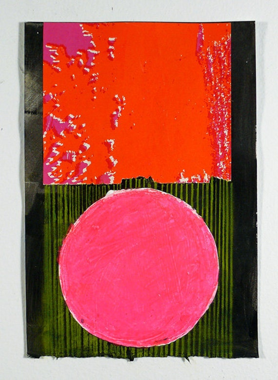 Original Art, Abstract Collage Pink, Red, Green & Black Geometric NY1127