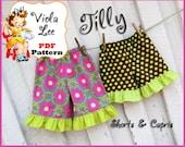 Tilly...Girl's Ruffled Shorts Pattern, Toddler Ruffled Capris Pattern. Infant Ruffle Pants Pattern. Toddler Shorts Pattern. Sewing ebook