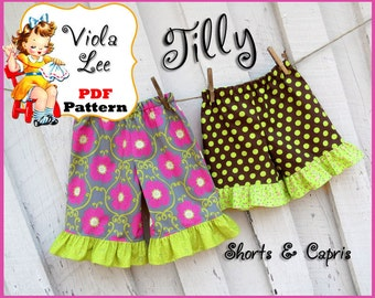 Tilly....Ruffled Girl's Capris Pattern, Ruffle Shorts Sewing Pattern. pdf Sewing Pattern. Toddler Shorts Sewing Pattern. Baby Sewing Pattern