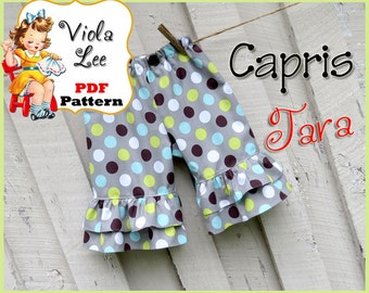 Tara... Girl's Ruffled Shorts Pattern & Ruffled Capris Pattern. Ruffled Pants Pattern. Girl's Sewing Pattern. Toddler Sewing pdf Pattern