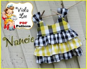 Nancie,,, Girl's Sewing Pattern. Ruffle Top Pattern, Girls Top Pattern. Toddler Top Pattern. pdf Sewing Pattern. Cute with Ruffle Shorts.