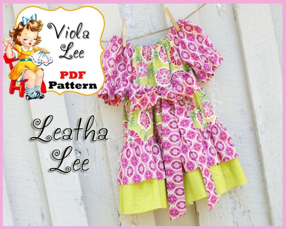 Leatha... Toddler Peasant Dress Pattern, Girl's Dress Sewing Pattern. INSTANT DOWNLOAD. PDF Sewing Pattern. Toddler Dress Sewing Pattern.