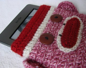 PINK Sock Monkey Nook Kindle eReader Kobo Sleeve Cover Summer Christmas Chanukah (Hanukkah), birthday (pink white red)
