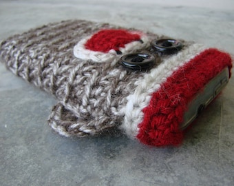 Sock Monkey iPhone, Droid, Windows smart phone cell phone sleeve cover slipcover