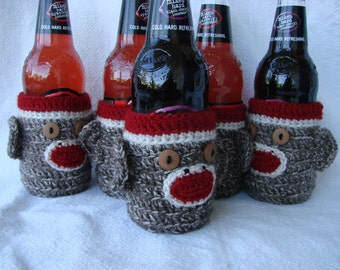 4 Pack Sock Monkey Cozies for Beer, water, soda Bottle (set of four)