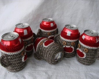 Six pack set of 6 Sock Monkey beer Soda Can Cozies half dozen red white brown groomsmen gift, birthdays