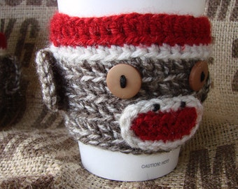 Sock Monkey Coffee Cozy Sock Monkey Sleeve